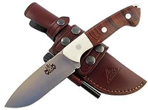TRAPPER-DUO - Premium Qualität - professionell Überlebensmesser, Gürtelmesser, Outdoor Survival Messer, Jagdmesser, Stahl MOVA-58, Lederscheide + Feuerstahl. Entworfen und Hergestellt in Spanien.