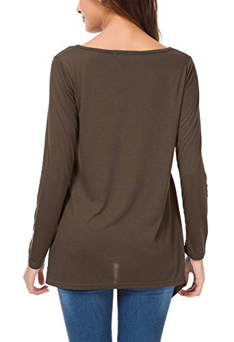 Urban GoCo Damen Langarm Loses Tasche T-Shirt Zwei Taschen Oberteil Tunika Coco