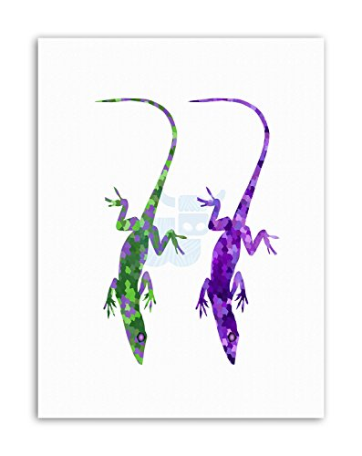 Wee Blue Coo LTD Abstract Lizard Salamander Mosaic Poster Painting Illustration Canvas Art Prints -