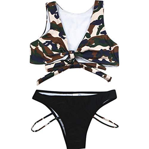 Internet_Push-up Bra Traje de baño bañador Mujeres Sexy Correas sólida Bikini Set Swimsuit con Estampado de Camuflaje,Diseño de la Correa de Pecho,Bañadores de Mujer Bañadores de Playa Bikini