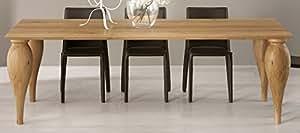 "Table repas chêne rectangulaire massif pied tourné moderne""Bibido20"" Meuble House"