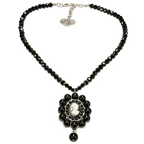 Alpenflüstern Perlen-Trachtenkette Gemme Wilhelmine - eleganter Damen-Trachtenschmuck, Dirndlkette schwarz DHK191