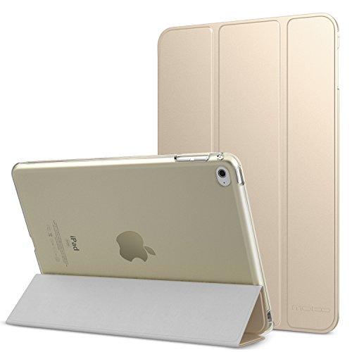MoKo Hülle für iPad Mini 4 - PU Leder Tasche Schutzhülle Schale Smart Case mit Translucent Rücken Deckel, mit Auto Schlaf / Wach Funktion und Stanfunktion für Apple iPad Mini 4 2015 Genaration 7.9 Zoll IOS Tablet, Gold