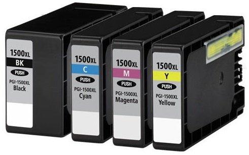 4 Tintenpatronen kompatibel zu PGI-1500XL für Canon Maxify MB2000 MB2050 MB2300 MB2350 - Schwarz/Cyan/Magenta/Gelb, hohe Kapazität