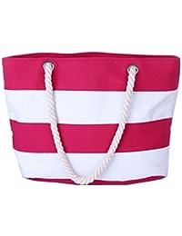 103ccbe65943f DNFC Strandtasche mit Reißverschluss Damen Schultertasche Groß Canvas Tasche  Gestreift Handtasche mit Innentasche Einkaufstasche Shopper Reisetasche