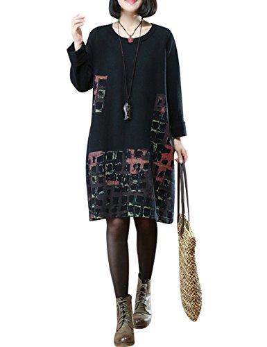 Youlee Donna Plaid Manica lunga Maglione lavorato a maglia Vestito Nero