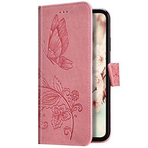 Uposao Kompatibel mit Samsung Galaxy A10 Hülle Schutzhülle Lederhülle 3D Schmetterling Blumen Muster Handyhülle Leder Tasche Brieftasche Klapphülle Flip Case Magnet Kartenfächer,Rosa