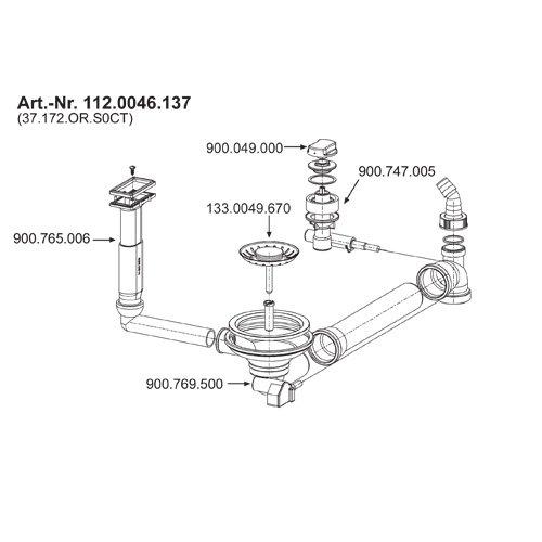 Ablaufventil 3 1/2 Zoll für 1 1/2 Becken mit Integral Ablauf für die Franke Spüle Atlantis ALX / ALL 614 G und 214 G / Siebkorbventil / Excenterventil / Franke / Ersatzteil