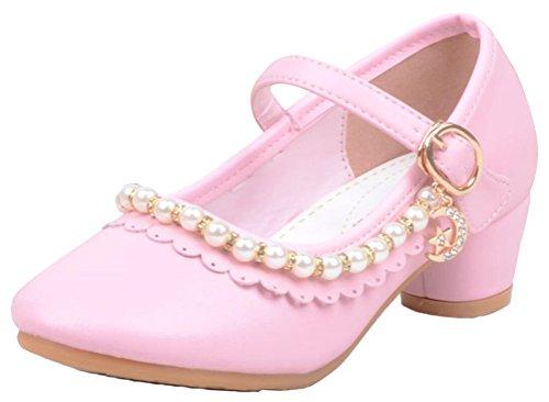 SMITHROAD Gr Pink Halbschuhe Absatz bis Ballerinas Kost眉m M盲dchen Sandale Schuhe 27 Leder Perlen Hochzeit 35 Kinder Prinzessin 77a0Pwqr