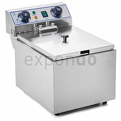 Royal Catering - RCTF-13EH - Friteuse électrique de 1x13 litres - 100 % acier inox - 3,2 kW - Minuteur