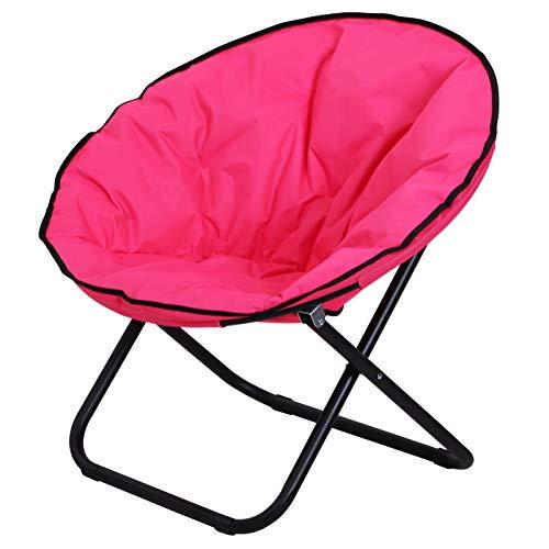 Outsunny Klappstuhl Klappsessel Campingstuhl Gartenstuhl Polstersessel Lounge Sessel faltbar Metall + Oxfordstoff Pink 80 x 80 x 75 cm -