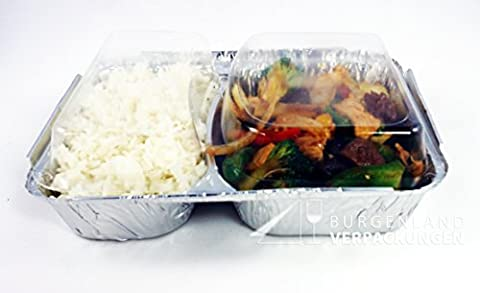 20 Alu - Menüschalen mit glasklarem Deckel | 2-geteilt | TIEF | stabile Alumenüschale | Aluschale | Alu-Schale | Menüschalen | Alu-Menüschale | Lunchbox | Assietten | Menüteller | Alubehälter | Aluminiumschalen | ideal zum Transport von Mahlzeiten