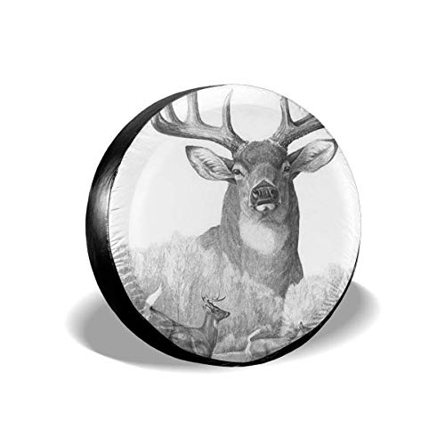 Vbnbvn Reserveradabdeckung, Whitetail Deer Potable Polyester Universal Spare Wheel Tire Cover Wheel Covers Jeep Trailer RV SUV Truck Camper Travel Trailer Accessories 17 in