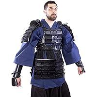 Alta calidad LARP piel Armadura Samurai Talla M/L Negro o Rojo Medieval Combate de exhibición Vikingo negro Talla:talla media/grande