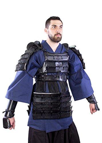 Hochwertige LARP Lederrüstung Samurai Gr. M/L Schwarz oder Rot Mittelalter Schaukampf Wikinger (Schwarz)