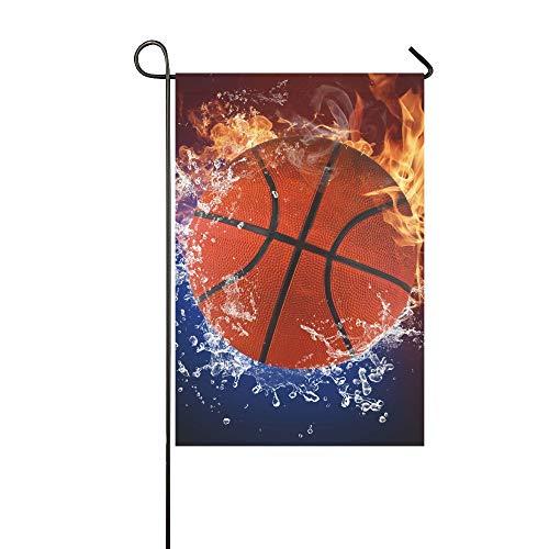 Home Dekorative Outdoor-Fahne, doppelseitig, Basketballball, Feuerflammen und Spritzwasser, Garten-Flagge, Garten-Hof-Dekorationen, saisonale Willkommen-Outdoor-Flagge, 30,5 x 45,7 cm, Frühlings-Sommer-Geschenk