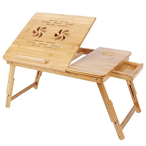 PAffy Bamboo Wooden, Foldable, Multipurpose (Study / Reading / Eating / Craft-work) Laptop Table with Two Cooling Fans