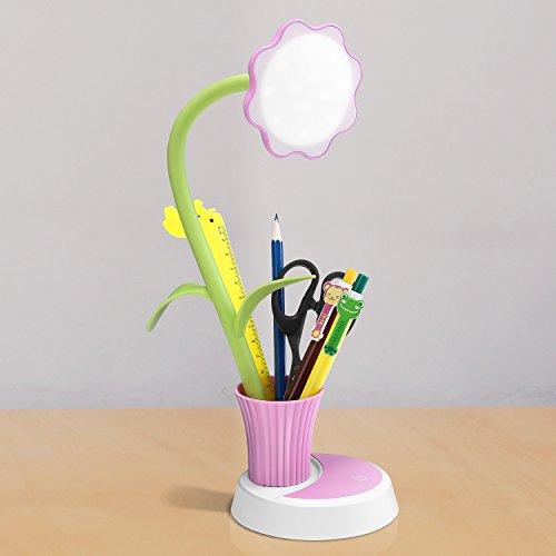 Led Schreibtischlampe mit Stifthalter, Yissvic 3W LED Tischlampe Stufenlos Dimmbare Tischleuchte mit Touchsensor USB-Anschluss (Rosa)