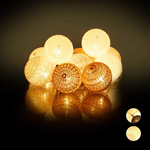 Relaxdays LED Lichterkette mit 10 Baumwollkugeln, batteriebetrieben, Stimmungslichter, Kugeln 6 cm Ø, weiß-grau-braun