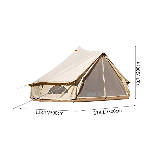 BuoQua Bell Tent Canvas Tent with Stove Hole Cotton Canvas Tents Yurt Tent for Camping 4-Season Waterproof Bell Tent for Family Camping Outdoor Hunting 2