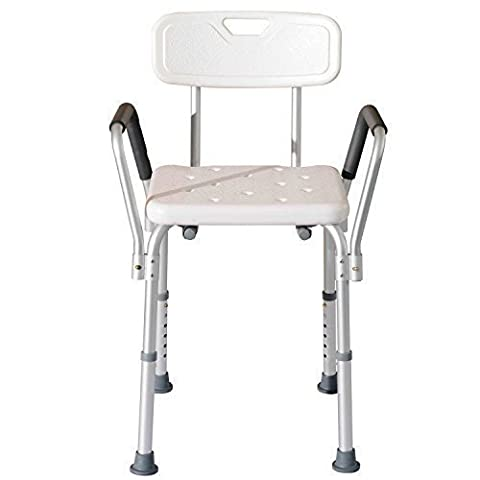 Bath/Shower Stool with Backrest and Arms Chair, Adjustable Height by