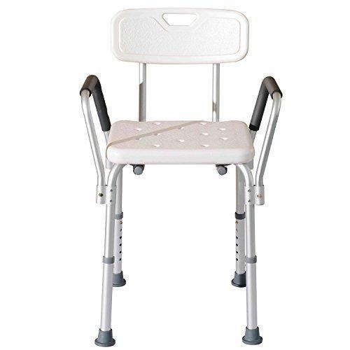 Homcom - Sedile da doccia con schienale e braccioli -...