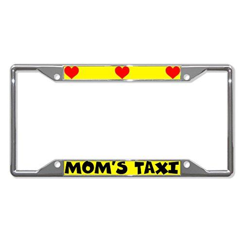 Mom\'S Taxi Corazones Metal Matrícula Marco Placa Placa Placa Soporte Cuatro Orificios Hombres Mujeres Coche Garadge Decor