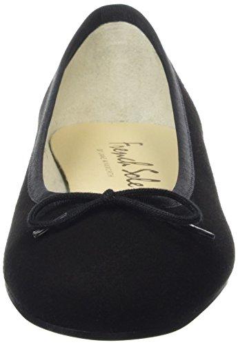 French Sole Henrietta Nubuck, Closed Toe Ballet Flat femme Noir (Black)