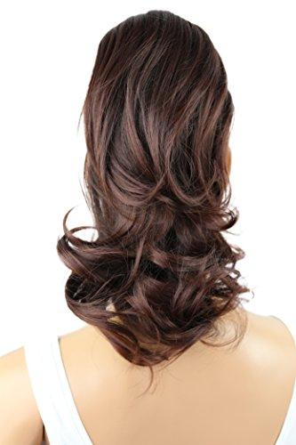 PRETTYSHOP Voluminöses Haarteil Hair Piece Pferdeschwanz Zopf Ponytail ca 35cm diverse Farben (dunkelbraunmix H108_2T33)