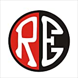 #4: isee360 Customized RE Royal Enfield Sticker_ Red & Black With White Letters Standard Size For Sides Tank