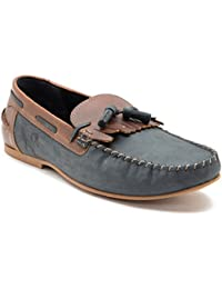 Yezdi Men's Navy Leather Loafers And Moccasins