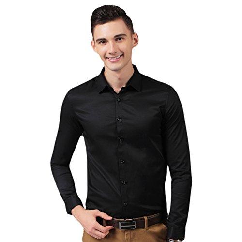 Linnuo camicia per uomo slim fit manica lunga camicia classica regular fit