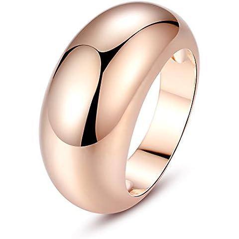 Wostu Fashion massiccio placcato in oro rosa 18K anello di fidanzamento per le donne ragazze