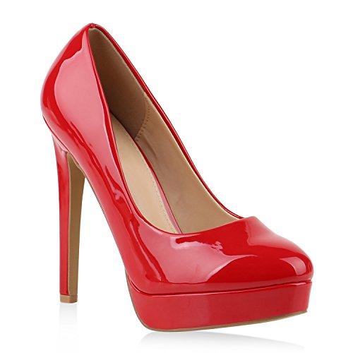 Damen Schuhe Pumps High Heels Plateaupumps Lack Stiletto Elegante 145637 Rot 38 Flandell