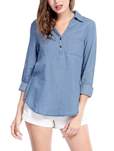 Allegra K Women's Half Placket Long Sleeves Chest Pocket Blouse