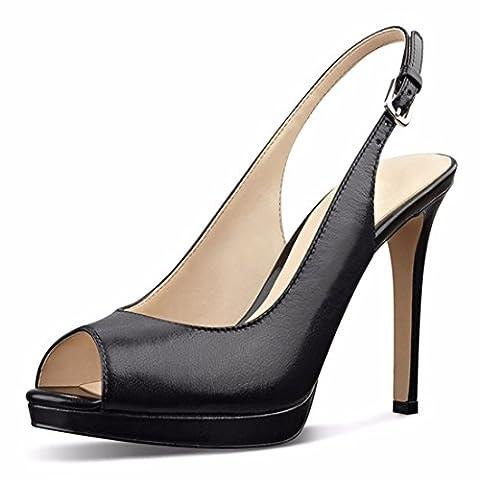 Cuckoo Plate-forme Peep Toe Women Slingback Escarpins noir