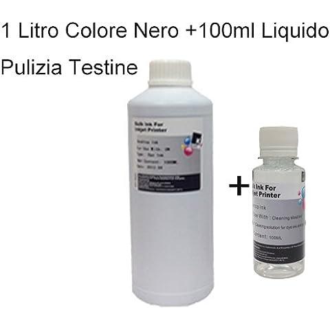 Ricarica Cartucce Inchiostro Colore NERO 1000ml, 1 Litro universale Compatibile per Brother , Canon , Epson , HP , LEXMARK , XEROX , DELL , In Omaggio 100ml Liquido Pulizia Testine .