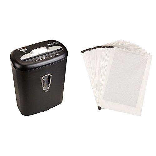 AmazonBasics - Hochsicherheits-Kreuzschnitt-Aktenvernichter für 8 Blätter, für Papier und Kreditkarten und Schmiermittelblätter, 12 Stk.