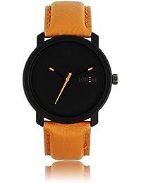Xurious Enterprise Round Dial Analogue Black Dial Cream Leather Strape Fashion Wrist Watch For Men & Boys | XE_LR...