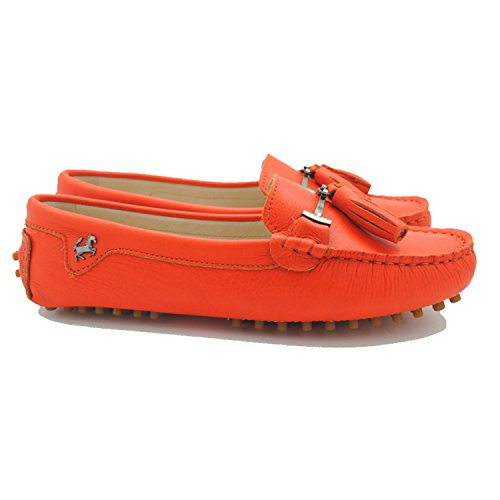 Minitoo JD568–3 Mocassini da donna con nappa in camoscio Leather-Orange Red