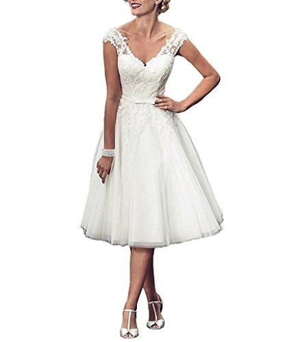Brautkleid Tee-länge Spitze (AZNA Damen Eine Linie V-Ausschnitt Spitze Tüll Brautkleid für Braut Hochzeitskleid Tee Länge Weiß 36)