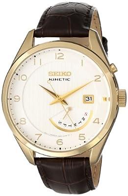Seiko SRN052 - Reloj para hombres, correa de piel de borrego color marrón
