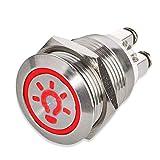 LED Drucktaster Ø 19 mm - 230 V - flacher Edelstahl-Taster beleuchtetes Licht-Symbol - Schraubkontakte - AC/DC (Rot)