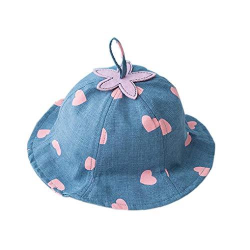 Aisoway Kinder-Sonnenschutz-Wannen-Hut-Kleinkind-Sun UV-Schutz-Sommer-Hut Große Weiche Krempe Karikatur-Strand-Badebekleidung Kappe Für Baby-Herz Druckt (Blau) - Kleinkinder-badebekleidung