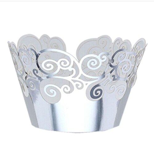ULTNICE Cupcake Wrapper 50 Stücke Kuchen Verpackungen kreative exquisiter Hochzeit Party Deko Backzubehör (Silber) (Cupcake Wrapper Silber)