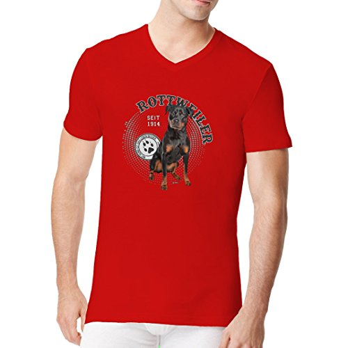 Im-Shirt - Hunde Motiv: Rottweiler Foto cooles Fun Men V-Neck - verschiedene Farben Rot