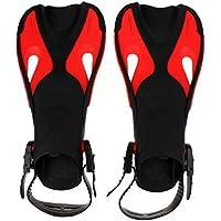 fedsjuihyg Kids Swim Fins Short Blade Snorkeling Swim Fins Training Fins For Kids Outdoor Diving Training Swimming - Color Black Color Red L/XL