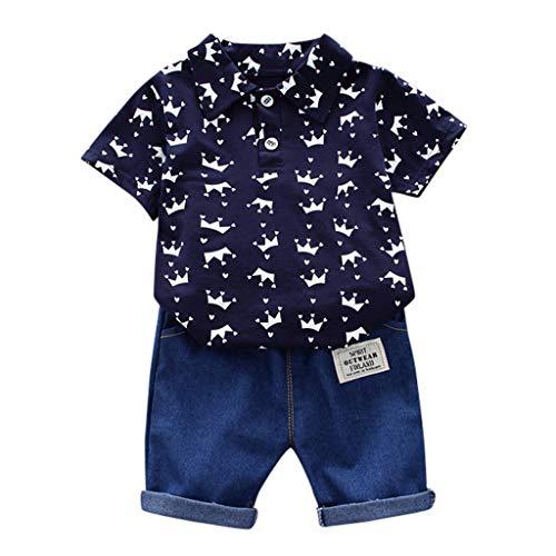 aiyvi Baby Jungen Bekleidungssets, 0-3 Jahre Kleinkind Kinder Baby Jungen Kurzarm Crown Muster Shirt Tops + Denim Hosen Set Sommer Nette Casual Bequem