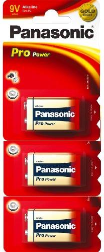 Panasonic Pro Power Gold 9V Alkaline Batteries 6LR61PPG 3/pk (6LR61, MN1604, PP3)