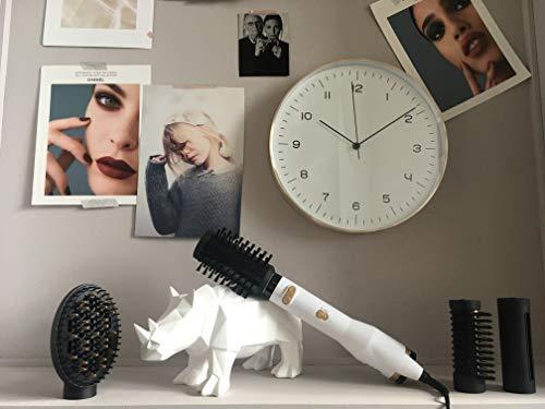 BaByliss AS545E Cepillo rotativo de aire con 4 cabezales, edición especial White&Gold, base cerámica, tecnología iónica, aerodinámica termica, 2 velocidades/temperaturas, aire frío, Color Blanco
